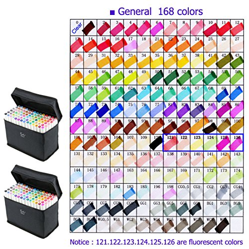 168 Color TOUCHNEW Art Sketch Twin Marker Pens Broad Fine Point Alcohol Graphic Highlighter Underlining Pens, With Black Cases by TouchNew