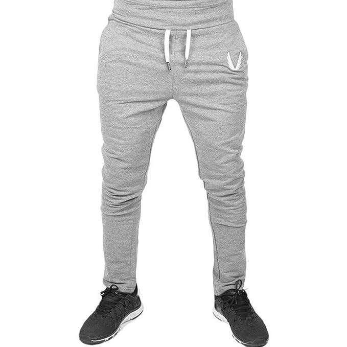 9d5264c3e Cómodo Cintura Elástica Casual Pantalones Largos Cargo para Hombre Jogging  Casual Pantalón Aptitud del Deporte de los Hombre Pantalones Deportivos ...
