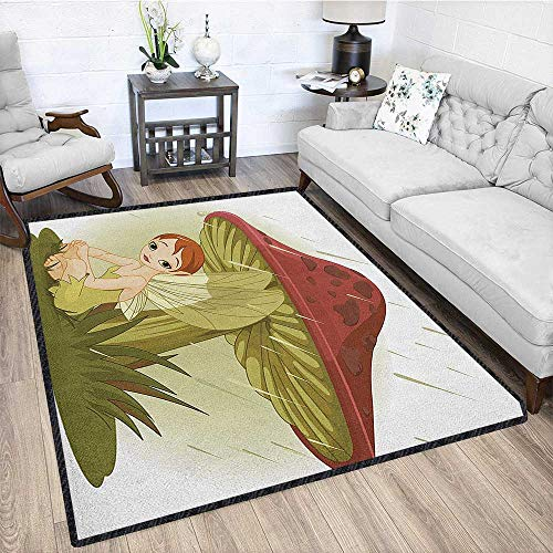 "Mushroom Contemporary Synthetic Rug,Fairy in Rain Under Mushroom Rainy Weather Wings Water Drops Greenery for Dorm Playing Room Olive Green Ruby Cream 79""x95"""