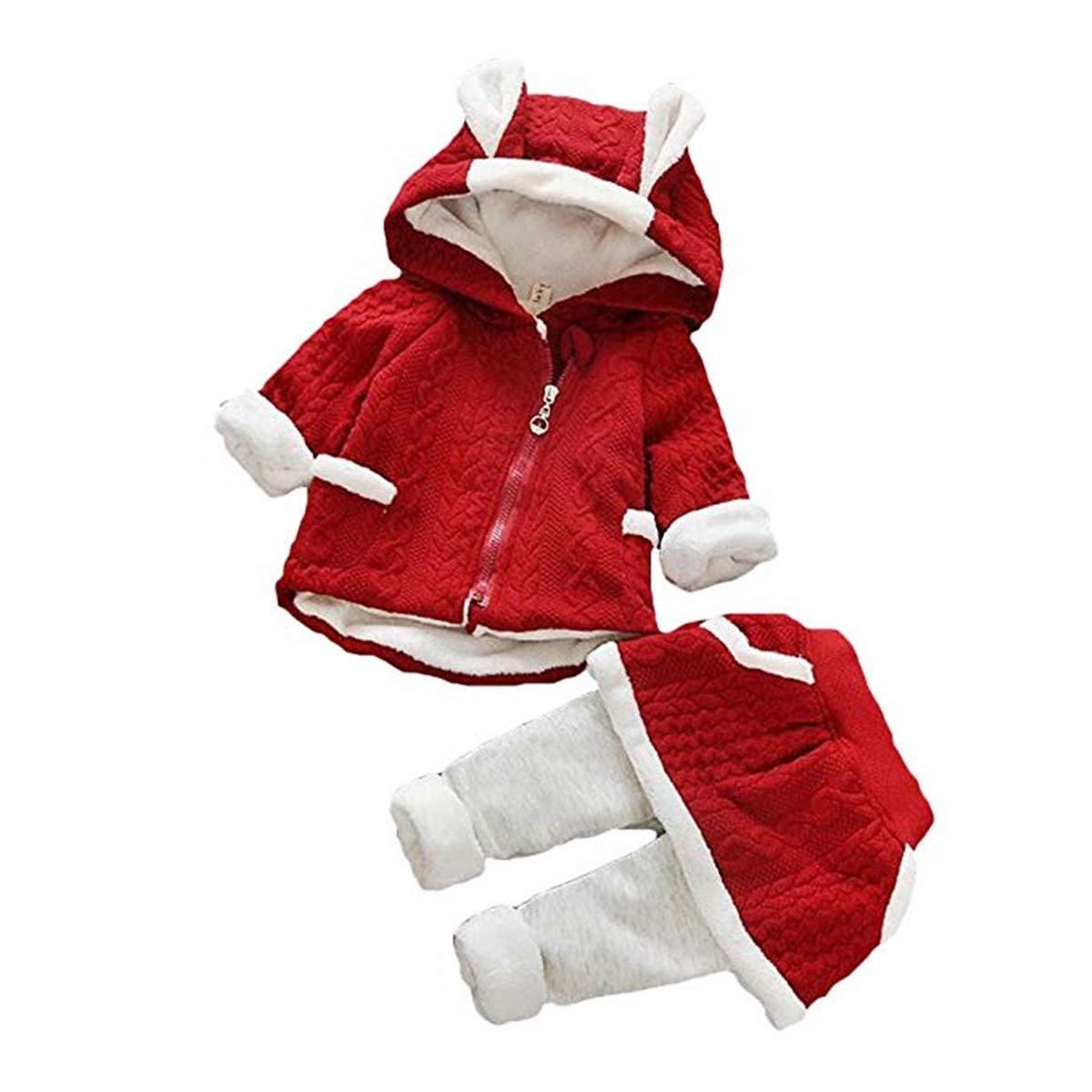 Formesy Natale Bambina 2pcs Set Abbigliamento Felpa Top con Cappuccio + Pantaloni Coniglio Forma Invernale Abiti Set