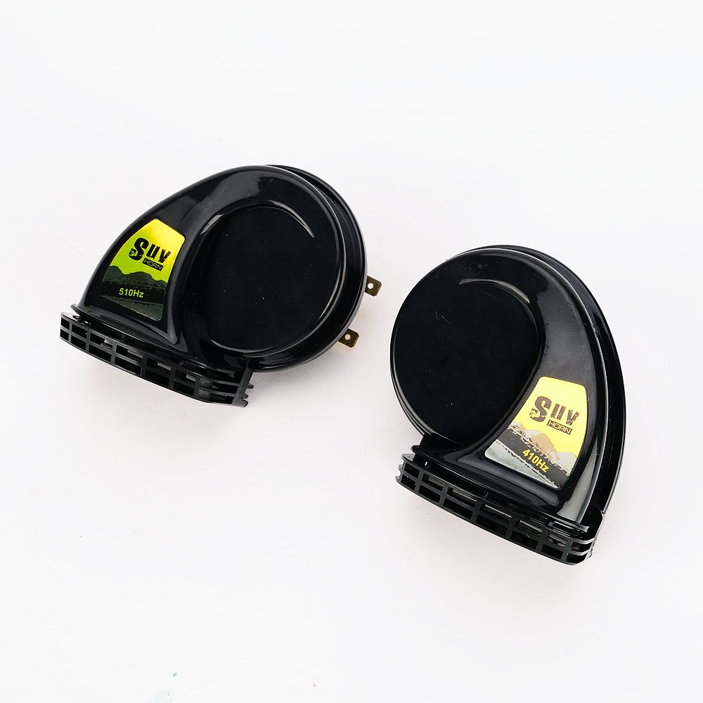 Iztoss SUV 2pcs /pair black 1 Treble 1 Bass Waterproof Super Loud Snail Horn Air Siren Speeker 12V Car 510Hz 115dB Alarm Sound H316BK