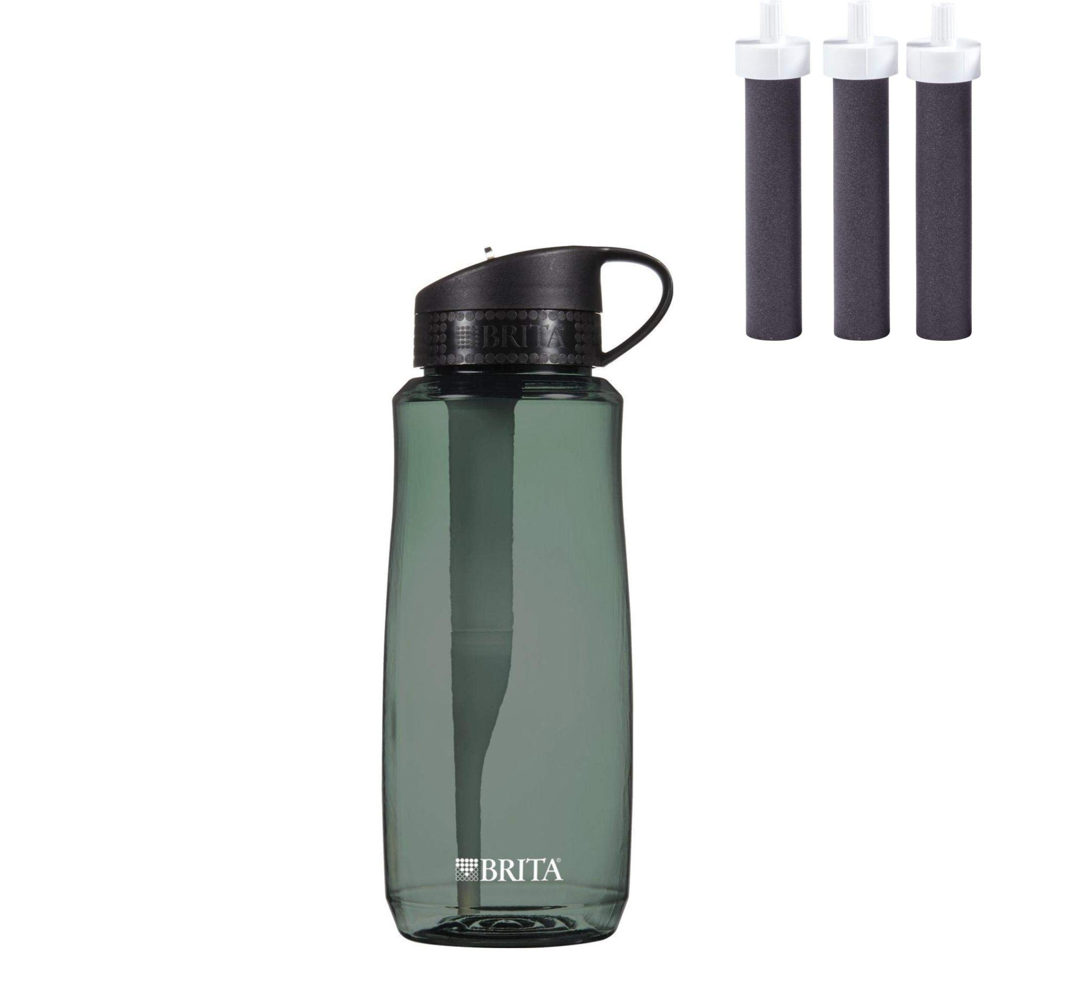 34 Ounce Hard Sided Water Bottle, BPA Free, Black (Water Bottle with 3 Filters)