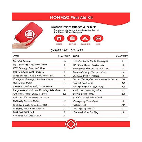 HONYAO Botiquín de Primeros Auxilios, Mini Kit de Supervivencia - Bolsa Médico de Emergencia Completo para Coche Barco… 6