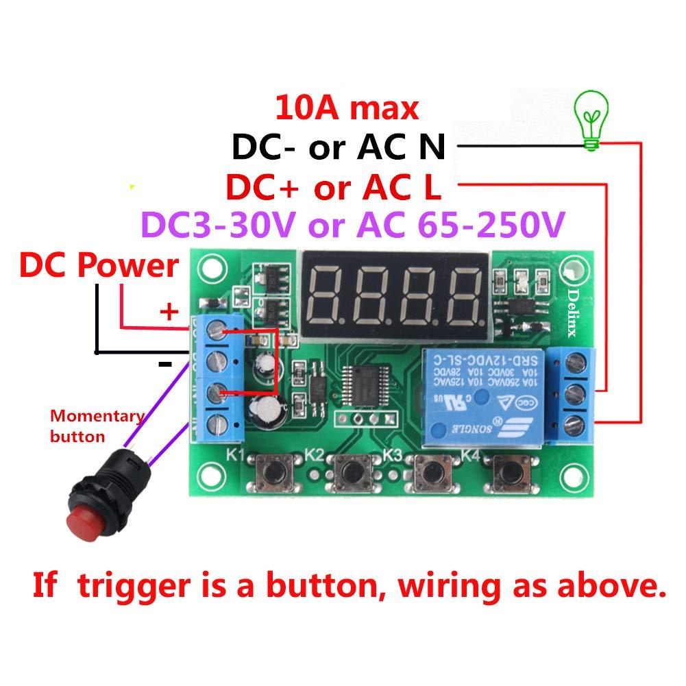con cable y bot/ón retardo de bucle infinito Mini DC 12V Digital Timer Relay Board 0.01seg-999min ajustable 24 tipos de programas