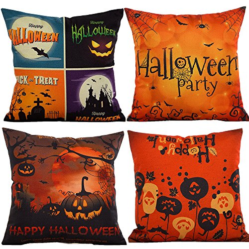 Halloween Throw Pillow (HOSL PW02 4-Pack Happy Halloween Cotton Linen Square Burlap Decorative Throw Pillow Case Cushion Cover Spider Moon Bat Pumpkin)