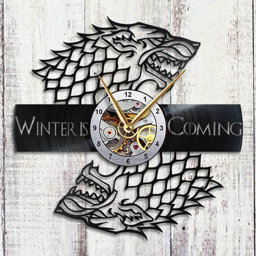 Game of Thrones - Vinyl Record Wall Clock - Stark House - Get Unique Living Room Wall Decor - Gift Ideas for Adults, Friends, Men and Women - Unique Art Design of Fantastic World