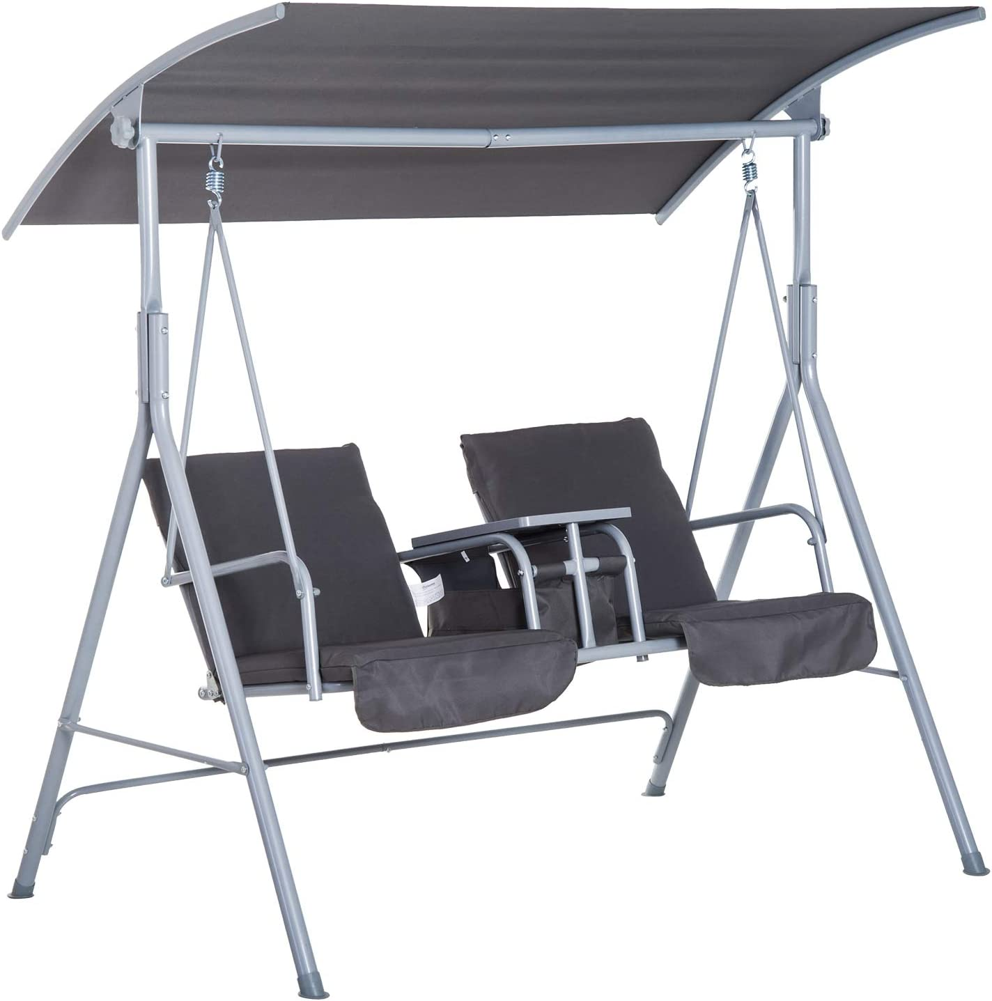 outsunny 2 person porch covered swing outdoor with canopy table and storage console grey