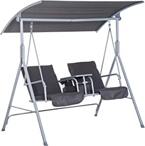 Outsunny 2 Person Porch Covered Swing Outdoor with Canopy, Table and Storage Console, Grey