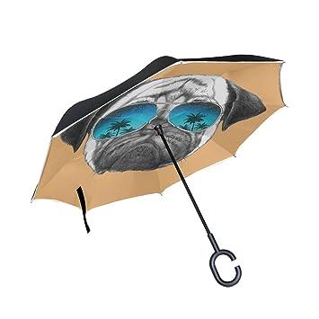 Ourqela Paraguas inverso para Perro con Espejo, Doble Capa, Resistente al Viento, Grande