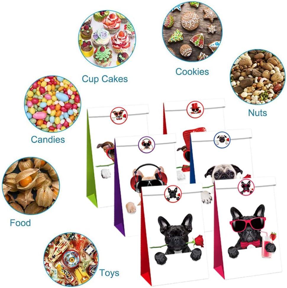 CHEPL Sacchetto Regalo Carta 12PCS Animale Domestico Sacchetti di Carta Cane Candy Busta Regalo Festa Sacchetti con Adesivi per Cane Festa Forniture