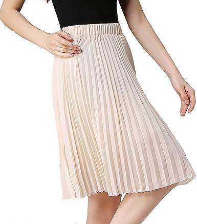 TEERFU - Falda plisada a la rodilla para mujer Rosa albaricoque ...