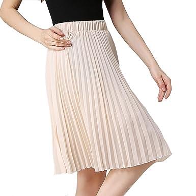 37b502d3d0 TEERFU Women's Pleated Casual Plain High Waist Chiffon Midi Skirt ...