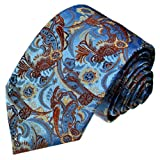 LORENZO CANA Italian Pure Silk Tie Blue Burlywood Paisley Woven Necktie 36012