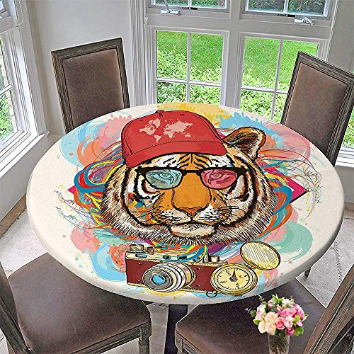 Mikihome Premium Tablecloth Hipster Rapper Style Tiger with Sunglasses Hat and Camera Artist Comic Print Everyday Use 43.5