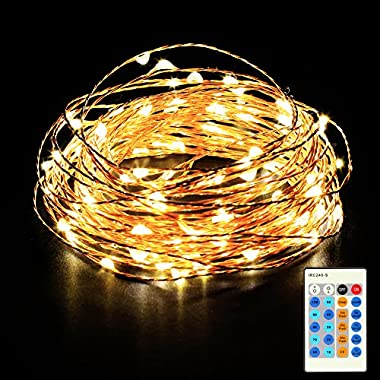 Homdox LED Fairy Starry String Lights, 33ft Copper Wire Rope Lights for Decorative Holiday Christmas Wedding Party, 100LED, Wireless Handheld Remote Control, Warm White