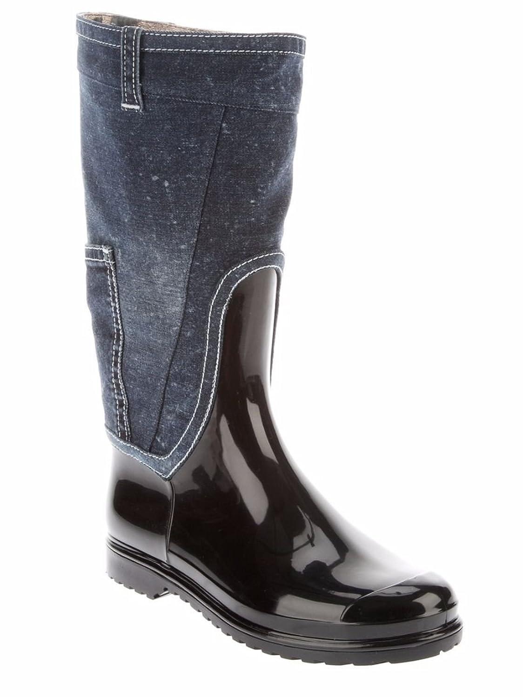 DOLCE & GABBANA Women's Black Patent Denim Rain Boots 7 AA