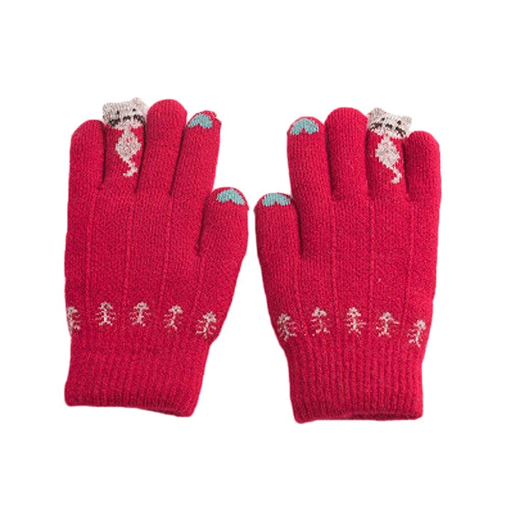Kids Thick Thermal Gloves Winter Warmer Knit Wool Full Finger Mittens Hand Wear
