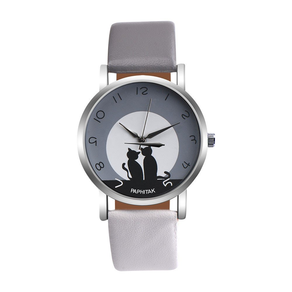 Zaidern Womens Cute Cat Leather Watches Unique Analog Quartz Fashion Clearance Lady Watches Female Watches on Sale Casual Wrist Watches for Women Round Dial Case Comfortable PU Leather Watch