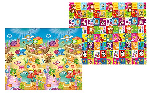 MyLine Baby Play Mat, Foam Floor Gym Rug, Non-Toxic, Non-Slip, Reversible, Waterproof, Great for Children, Toddler and infant, Super Large 78.7''x70.9'',Extra Thick, Sea World/Animal ABC