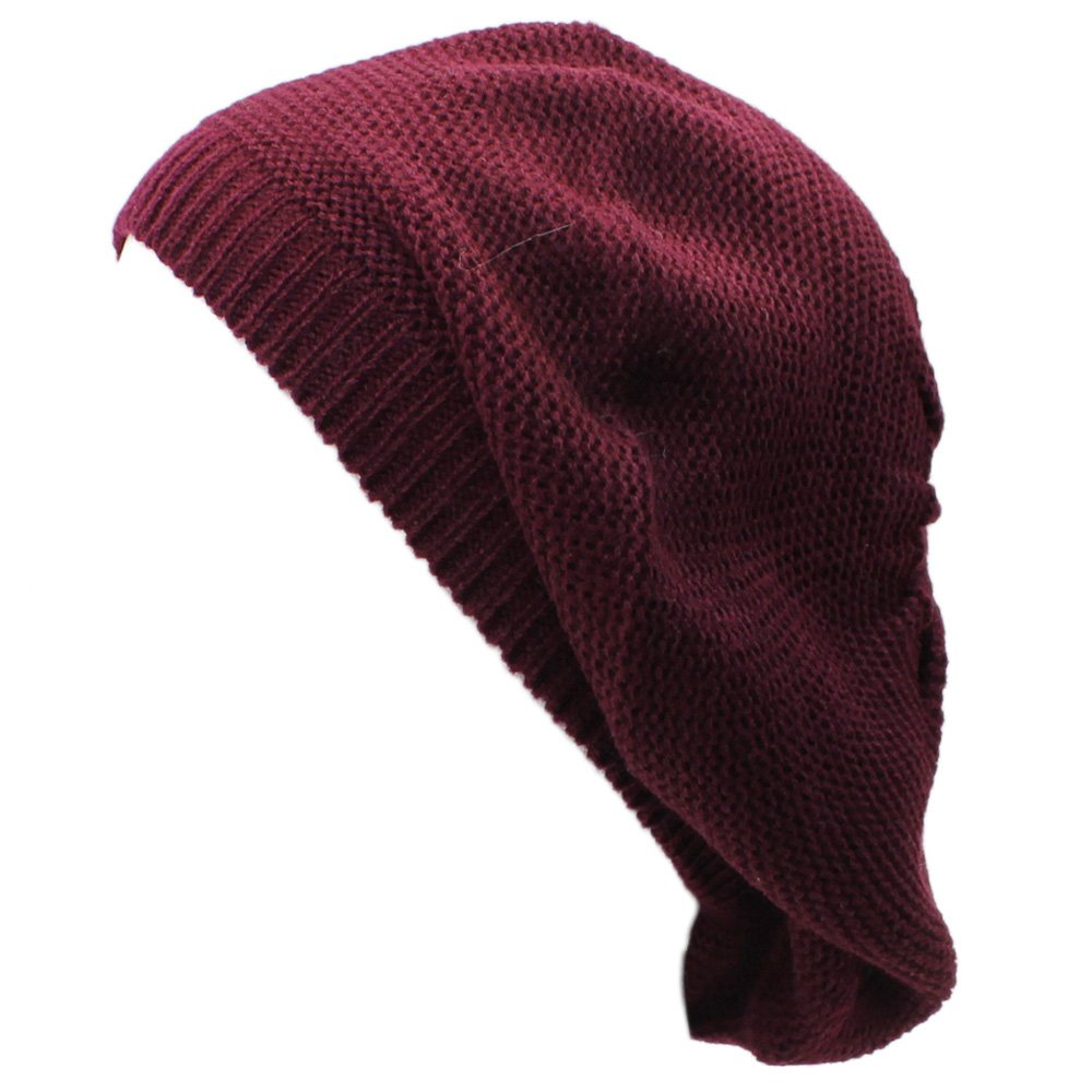 an. Wine Beret Beanie Hat for Women Fashion Lightweight Knit Solid Color