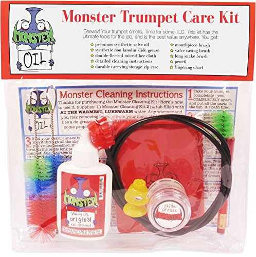 Monster Trumpet/Cornet Care and Cleaning Kit | Valve Oil, Slide Grease, and More! Everything You Need to Take Care of and Clean Your Trumpet!