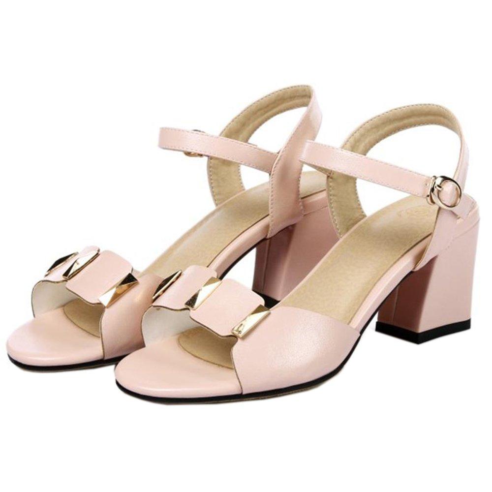 AicciAizzi Women Fashion Block Heel 4 Sandals Buckle B07C3KC7LJ 4 Heel US = 22.5 CM|Pink 29ddd0