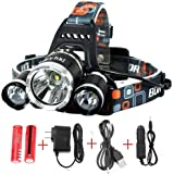 Super Bright 8000 Lumens Led Headlamp Flashlight,Super Bright Headlight ,Waterproof Hard Hat Light, 3 Light 4 Modes, IMPROVED LED with Rechargeable Batteries for Camping Biking Hunting Fishing Outdoor