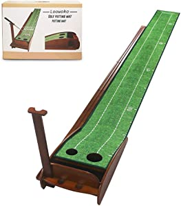 Loowoko Wood Golf Putting Green Mat with Auto Ball Return System Mini Golf Game Practice Equipment and Golf Gifts for Men Home Office Backyard Indoor Outdoor Use (Indoor Golf)