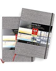 ARTEZA Bloc de dibujo con papel de acuarela | DIN A4 | Pack de 2 | 64 págs x 2 | Grosor 230 gsm | Encuadernados en lino | Cinta marcadora + correa elástica | Cuadernos para acuarela y medios mixtos