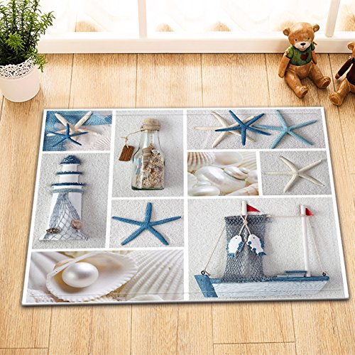 LB Bottle Seashell Pearl Starfish Lighthouse Decor Print Bath Rugs for Bathroom Floor, Soft Flannel Surface Non Slip Backing, Nautical Marine Theme House Decor 15 x 23 Inches