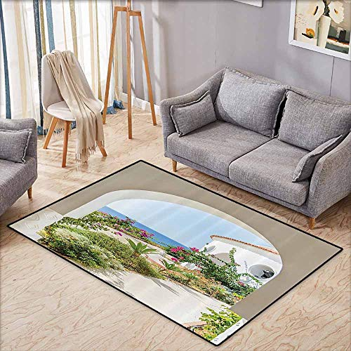 (Indoor/Outdoor Rug,Mediterranean Tuscan Island Decor Collection,Flowers Garden Old Architectural Chic House Ancient Explorer Scenery,Anti-Slip Doormat Footpad Machine Washable,3'11