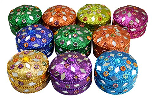 Krishna Mart India A Set of 10pcs Jewelry Boxes Home Decor Mirror Work,Beaded Fashionable Multi Color Jewellery Boxes