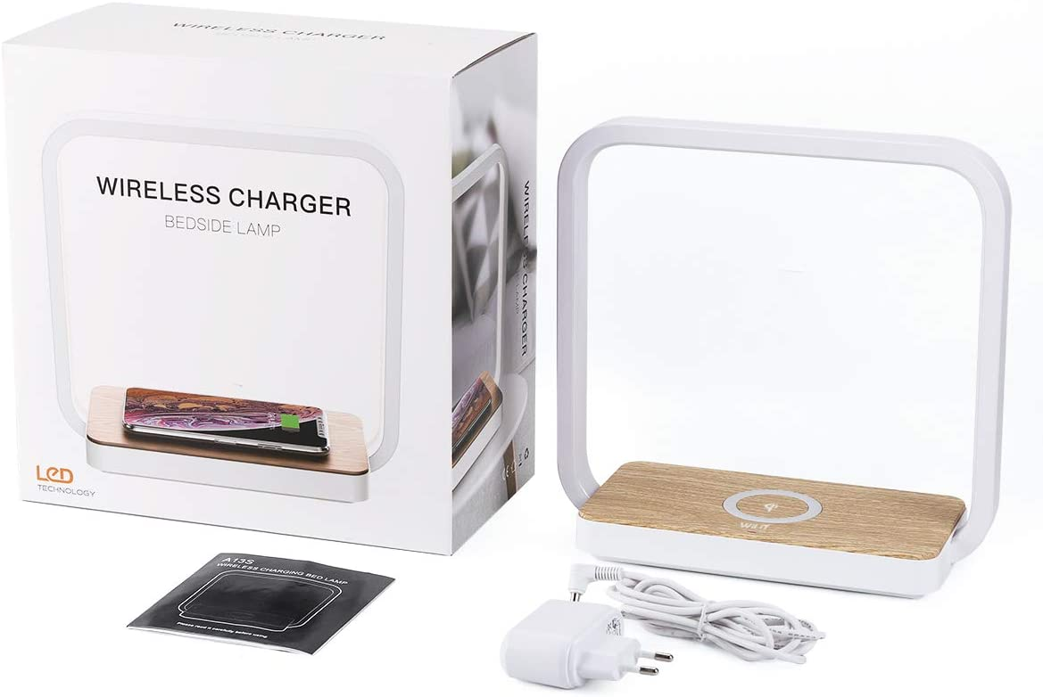 WILIT A13 Nachttischlampe LED Kabelloses Ladeger/ät Qi-Zertifiziert Wireless Charger f/ür iphone 11//11 Pro max//XR//XS//X//8 Holz Tischlampe mit 60 touch dimmbaren LEDs Samsung Galaxy S10//S9+//S8+