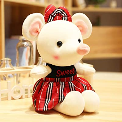 HUOQILIN Mouse Plush Toy Doll Zodiac Rat Mascot Gift Down Cotton (Color : Red, Size : 55cm): Home & Kitchen