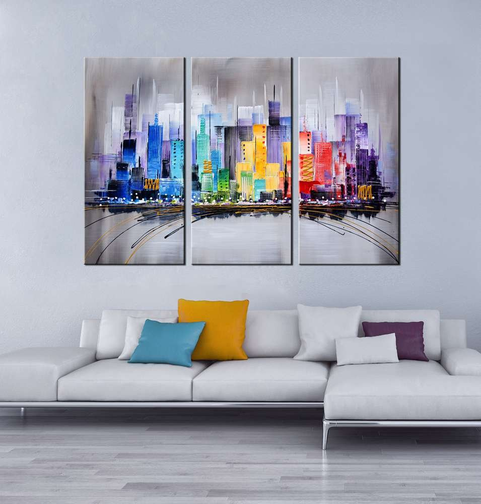 Artland modern 100 hand painted framed wall art colorful city 3 piece gallery wrapped abstract oil painting on canvas ready to hang for living room for