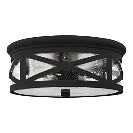 Sea Gull Lighting 7821402 12 Lakeview Two Light Outdoor Flush Mount Ceiling Light With Clear Seeded Glass Shade Black Finish