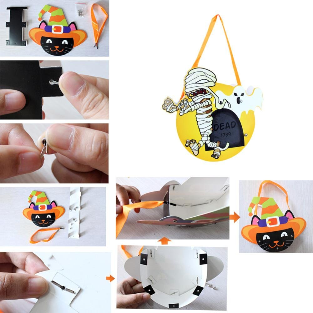 Elevin(TM)2017 Halloween Cute DIY Paper Candy Sugar Storage Bag Package Children Party Candy Trick or Treat Bag (F)
