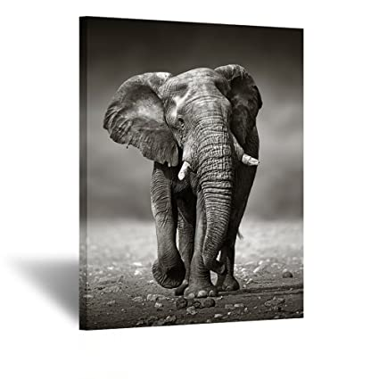 Kreative arts black and white elephant canvas wall art painting pictures print on canvas animal the
