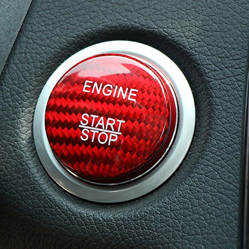 (Carbon Fiber Car Engine Start Stop Button Cover Keyless Go Ignition Stickers Fit for Mercedes Benz A B C W205 GLC X253 AMG E ML GLE)