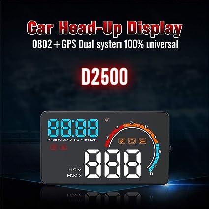 Gorgeri Universal D2500 4.8in Juego de GPS + OBD2 Coche HUD Head ...