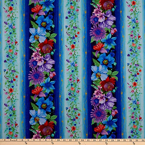 Timeless Treasures Digital Fairy Fantasy Floral Stripe Aqua Fabric