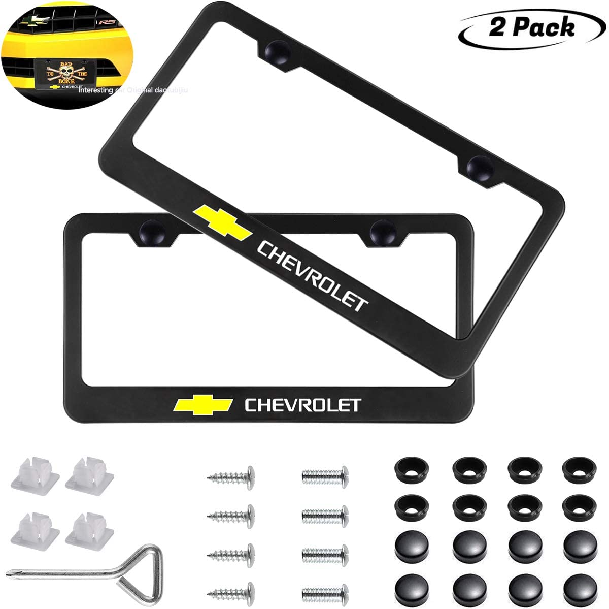 """2X /""""CHEVROLET/"""" Chevy Stainless Steel License Plate Frame Rust Free W// Caps"""