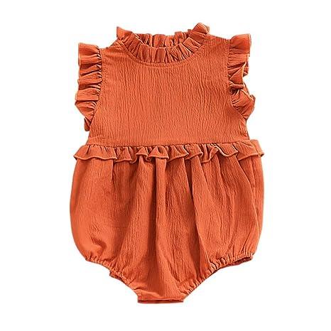 doubleer bebé niña Pelele volantes dobladillo algodón Romper Traje Sleveless Mono naranja Caramel Talla:S