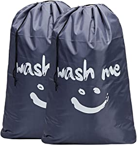 HOMEST 2 Pack XL Wash Me Travel Laundry Bag, Machine Washable Dirty Clothes Organizer, Large Enough to Hold 4 Loads of Laundry, Easy Fit a Laundry Hamper or Basket, Grey