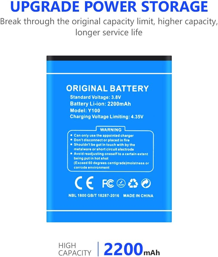 High Capacity Battery 2200mAh 3.8V for DOOGEE Valencia 2 Y100 Pro Doogee Y100,Genuine Lithium Battery for DOOGEE Valencia 2 Y100 Y100 PRO 2200MAH Batteries