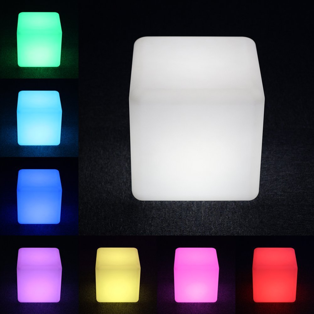 Siminda LED Cube Light Rechargeable and Cordless Decorative Light with 16 RGB Colors and Remote Control 11.8 Inch by Siminda