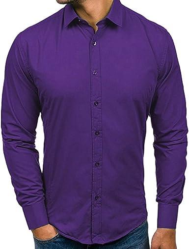 ChallengE - Camisa Formal - Manga Larga - para Hombre Violeta L: Amazon.es: Ropa y accesorios