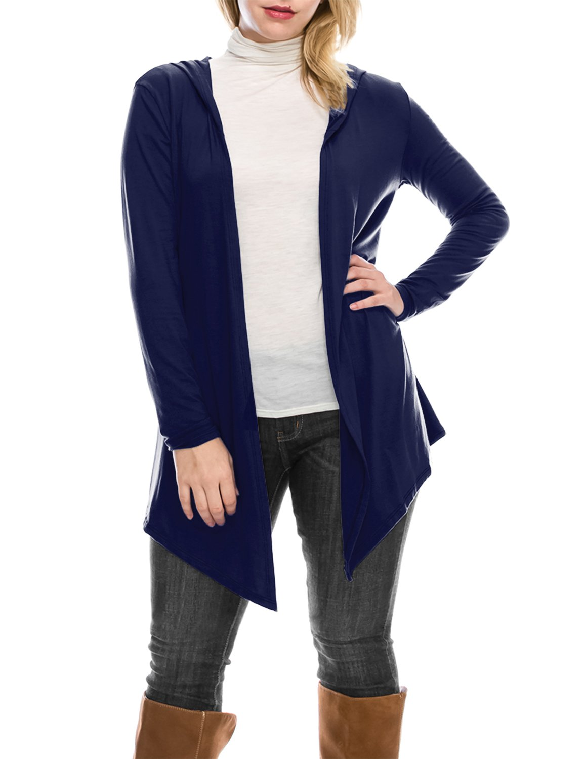 BIADANI Women's Hooded Open Front Lightweight Cardigan Navy X-Large