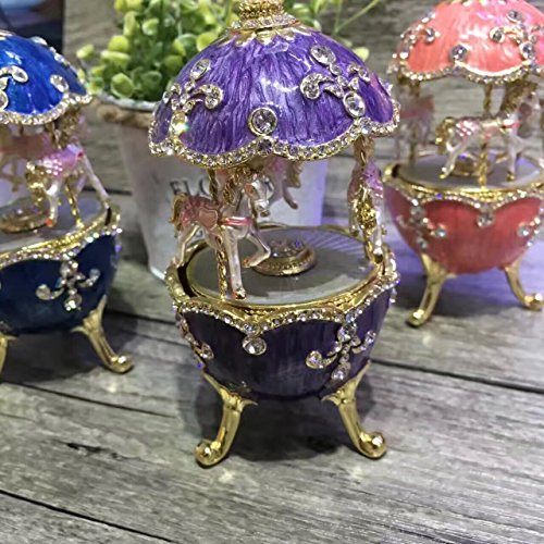 European royal wedding gift egg music box Faberge style egg music box collectible musical anniversary egg (Purple)