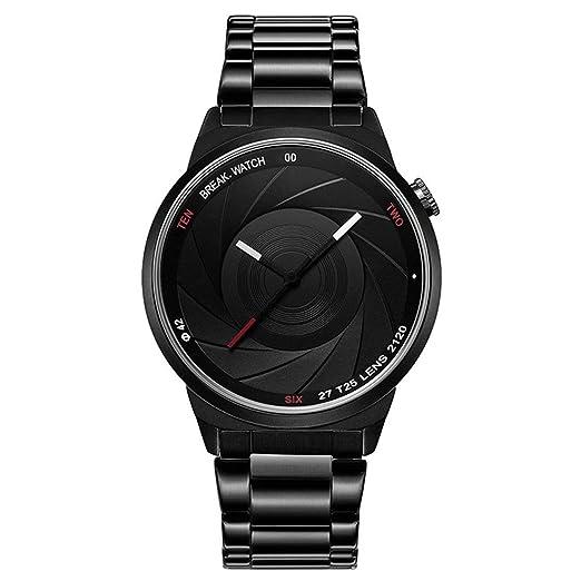 Break T25 Marca de Lujo Hombres Reloj Personalidad Creativa Dial Reloj de Cuarzo a Prueba de Agua Moda Casual Reloj Deportivo Negro: Amazon.es: Relojes